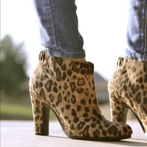 Leopard print ankle boots tan taupe